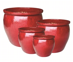 S/4 Round Fusion Pots - Oxblood Red
