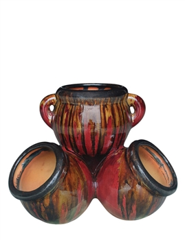 Medium Fusion Color Stackable Jar - Black Gold Red