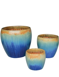 S/3 Round Fusion Pots - Gold On Sky Blue