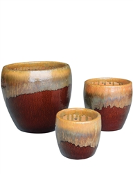 S/3 Round Fusion Pots - Running Amber