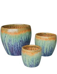 S/3 Round Fusion Pots - Tropical Breeze