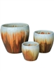 S/3 Round Fusion Pots - White Over Golden Brown