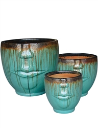 S/3 Face Planters - Black Gold Over Aqua