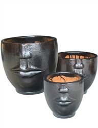 S/3 Face Planters - Black Gold