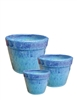 S/3 Small Round Fusion Pots - Blue Mist