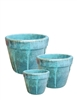 S/3 Small Round Fusion Pots - Peacock Blue