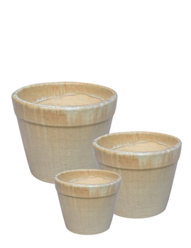 S/3 Small Round Fusion Pots - Running Creme