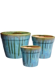 S/3 Small Round Fusion Pots - Sandy Blue