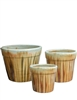 S/3 Small Round Fusion Pots - White Over Golden Brown