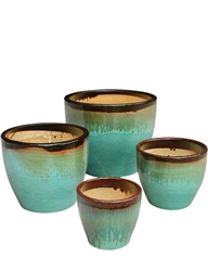 S/4 Tapered Round Fusion Pots - Black Gold Over Aqua