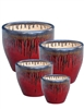 S/4 Tapered Round Fusion Pots - Black Gold Red