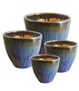 S/4 Tapered Round Fusion Pots - Blue Mist
