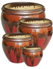 S/4 Round Fusion Pots - Sunset Red