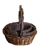 S/3 Dark Willow Oval Baskets w/ Handles & Liners