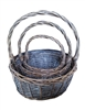 S/3 Greywash Willow Round Baskets w/ Handles & Liners