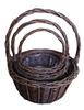 S/3 Dark Willow Round Baskets w/ Handles & Liners