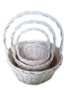 S/3 Whitewash Willow Round Baskets w/ Handles & Liners