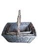 S/3 Greywash Willow Rectangular Baskets w/ Handles & Liners