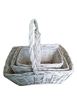 S/3 Whitewash Willow Rectangular Baskets w/ Handles & Liners