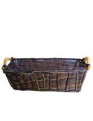 Single Long Rectangular Dark Willow Basket w/ Liner