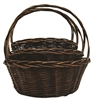 S/3 Large Stained Willow Round Baskets w/ Handles & Liners