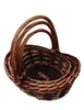 S/3 Dark Boat Shaped Two Tone Baskets w/ Handles & Liners