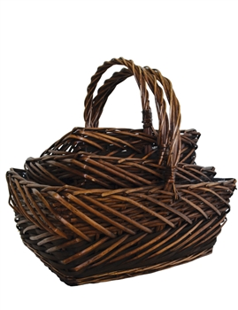 S/3 Stained Willow Rectangular Decorative Baskets w/ Handles & Liners