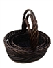 S/3 Willow Oval Decorative Baskets w/ Handles & Liners