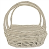 S/3 Whitewash Willow Oval Baskets w/ End to End Handles & Liners
