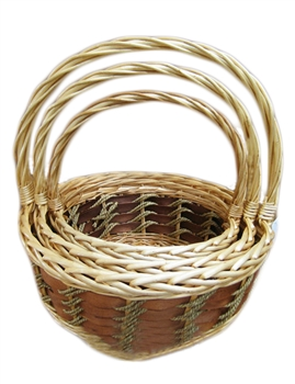 S/3 Round Two Tone Willow Baskets w/ Handles & Liners