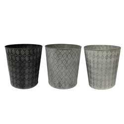 "Round Metal Pots with Liners - 3 Assorted Colors - Holds an 8+"" Pot"