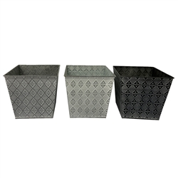 Tapered Square Metal Pots with Liners - 3 Assorted Colors