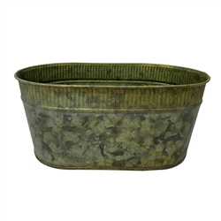 Verdigris Oval Metal Pot with Liner