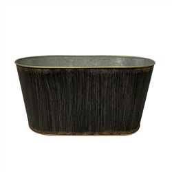 Brushed Black Oval Metal Pot with Liner