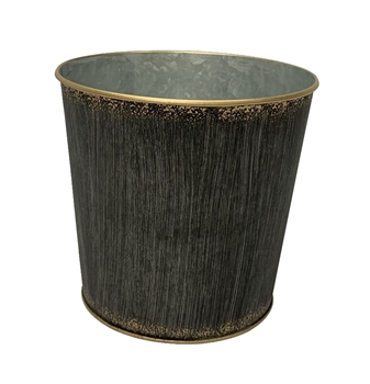 Brushed Black Round Metal Pot with Liner