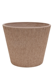 Single Round Textured Eco Pot with Drain Plug - Taupe