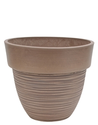 Tapered Round Eco Pot with Drain Plug - Taupe