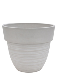 Tapered Round Eco Pot with Drain Plug - White Stone