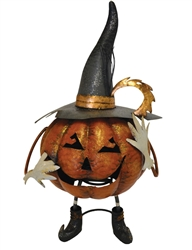 Metal Pumpkin With Witch Hat Decor