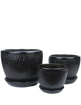 Small Round Fusion Pots w/ Attached Saucer - Black - Set of 3