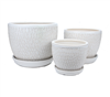 Small Round Fusion Pots w/ Attached Saucer - White - Set of 3