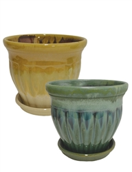 "8.25"" Round Pots w/ Attached Saucers, 2 Assorted Colors, 4 Per Case"