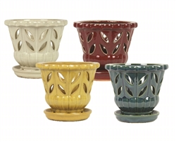 "5"" Orchid Pots w/ Attached Saucers, 4 Assorted Colors"
