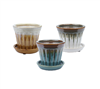 "3.74"" Round Ceramic Fusion Pots w/ Attached Saucer, 3 Assorted Colors, 12 Per Case"