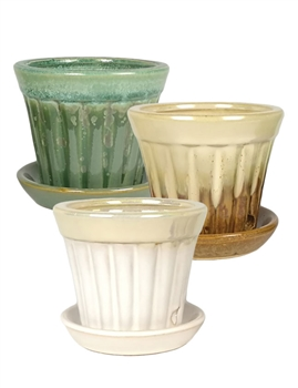 "3.5"" Round Ceramic Fusion Pots w/ Attached Saucers, 3 Assorted Colors, 12 Per Case"