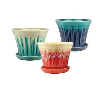 "5.7"" Round Ceramic Fusion Pots w Attached Saucer, 3 Assorted Colors, 6 Per Case"