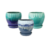 "5.31"" Round Ceramic Fusion Pots with Attached Saucers, 3 Assorted Colors, 6 Per Case"