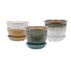 "5.9"" Round Ceramic Fusion Pots w Attached Saucer, 3 Assorted Colors, 6 Per Case"