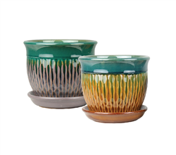 "8"" Round Ceramic Fusion Pots with Attached Saucers, 2 Assorted Colors, 4 Per Case"