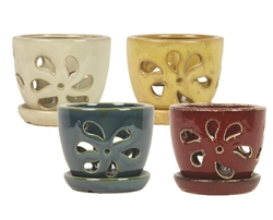 "5"" Daisy Orchid Pots w/ Attached Saucers, 4 Assorted Colors"